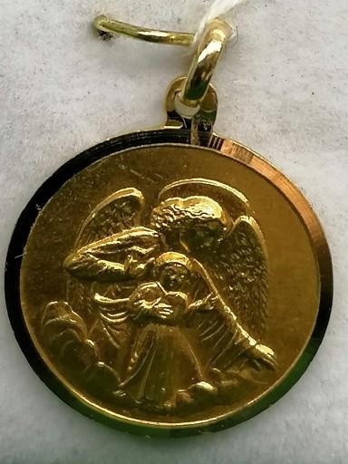 Medalla Angel De La Guarda Oro Filo Liso