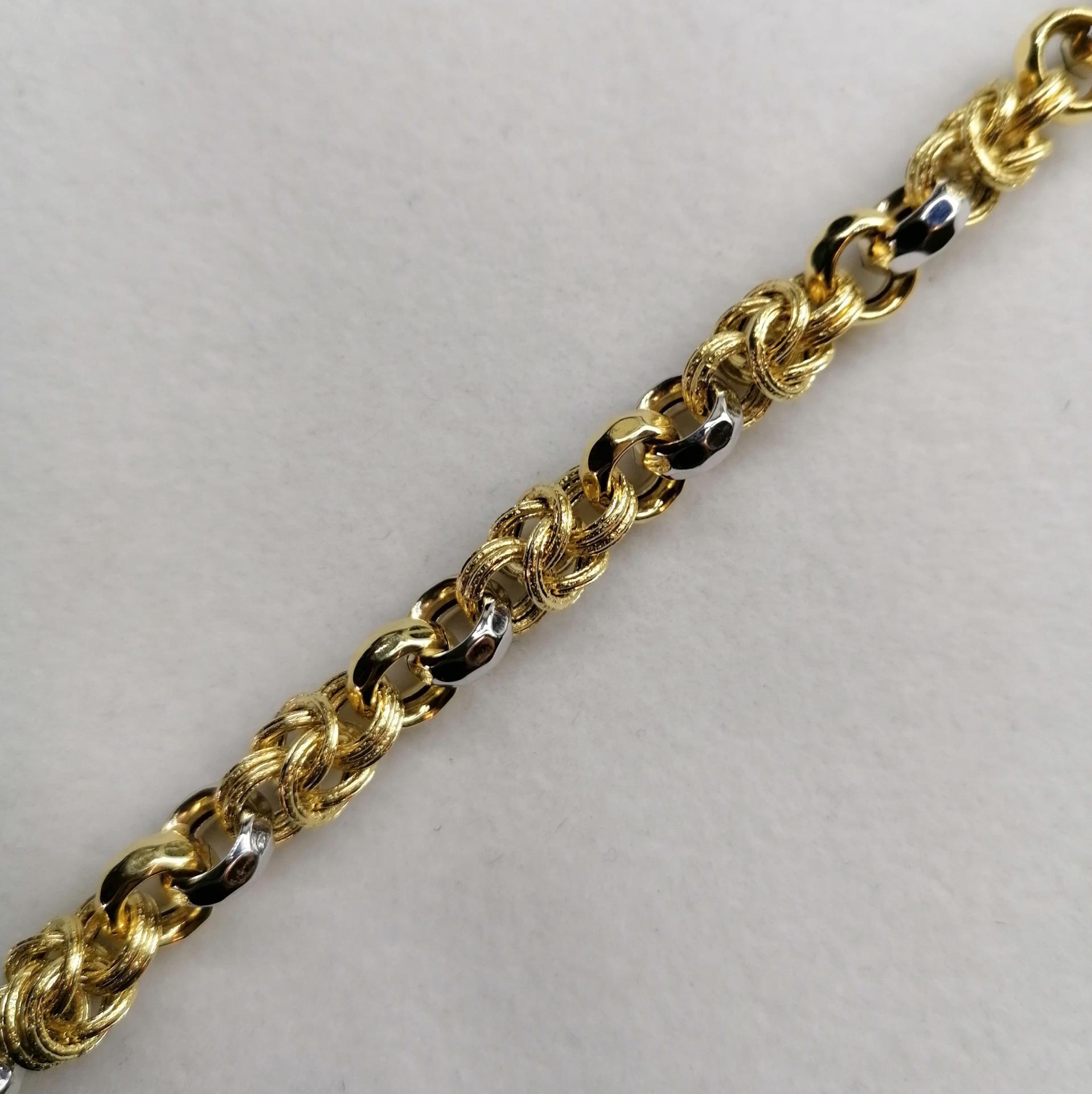 Pulsera De Oro Amarillo Y Blanco Espectacular Diseño