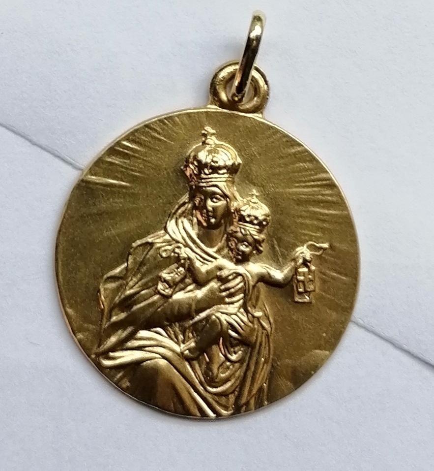 Medalla Oro Virgen Carmen Sin Filo De 26 mm