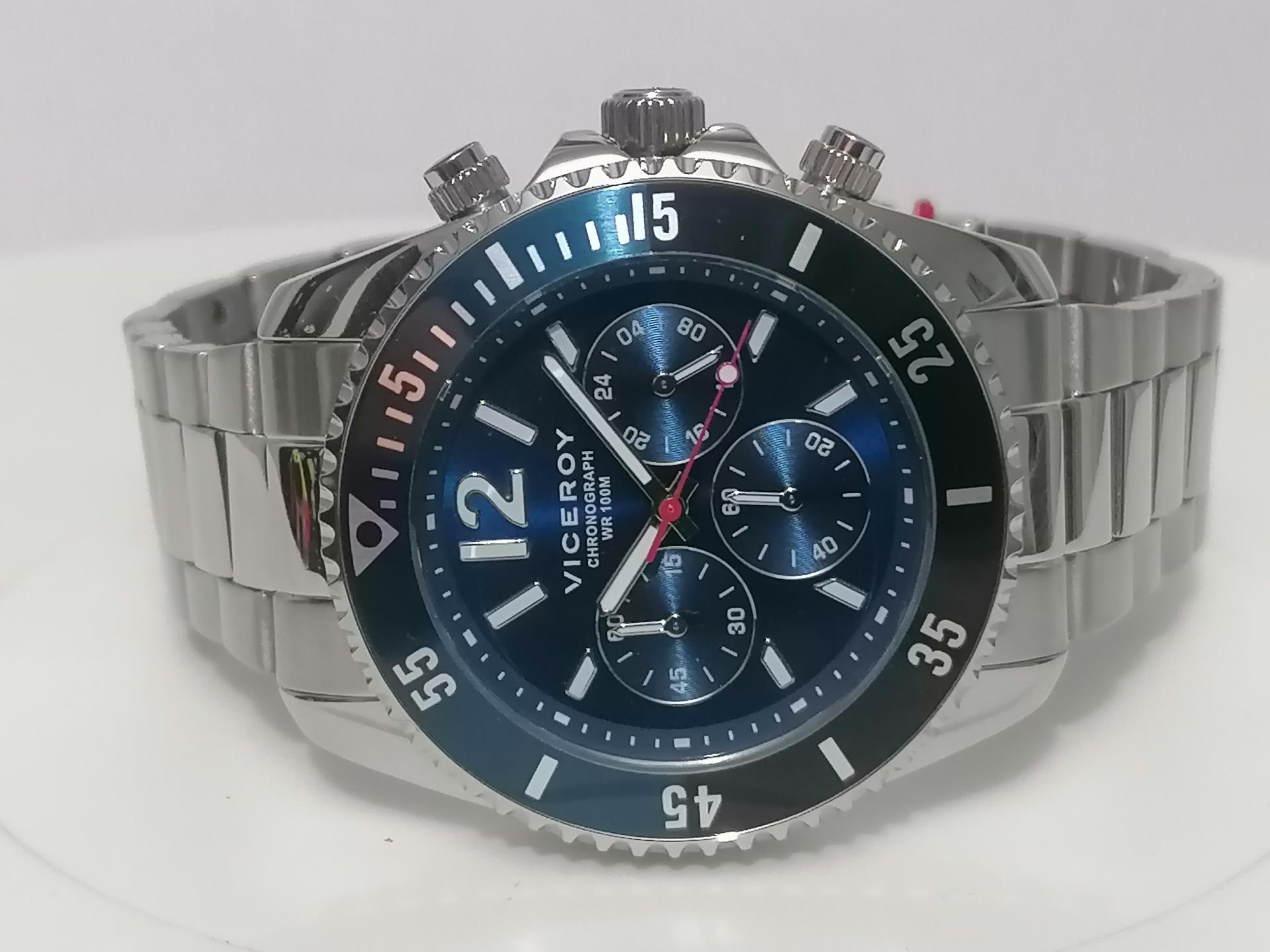 Reloj Viceroy Hombre Multifuncion Azul En Acero 401225-35