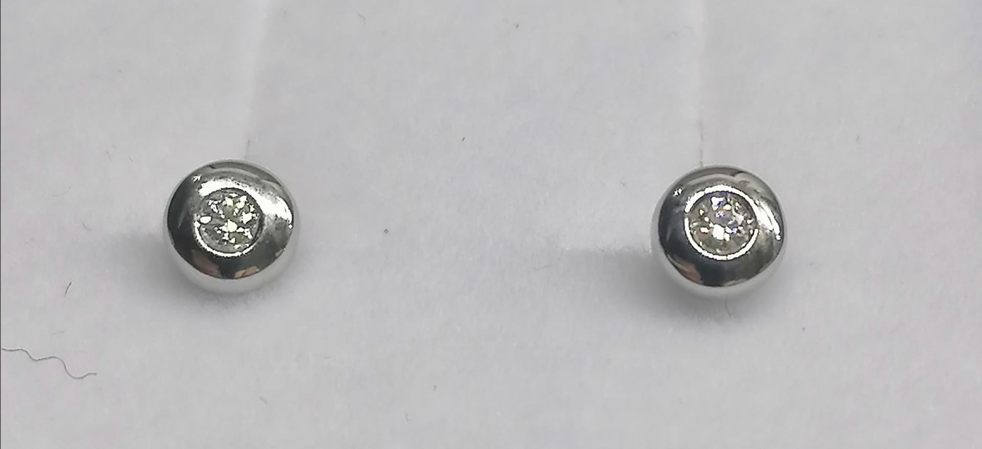 Pendientes Chaton Brillantes 0,06 Ct. En Oro Blanco