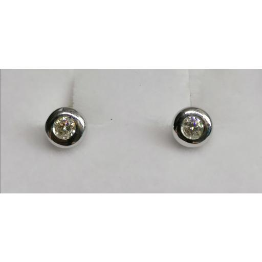 Pendientes Chaton Brillantes 0,16 Ct. En Oro Blanco