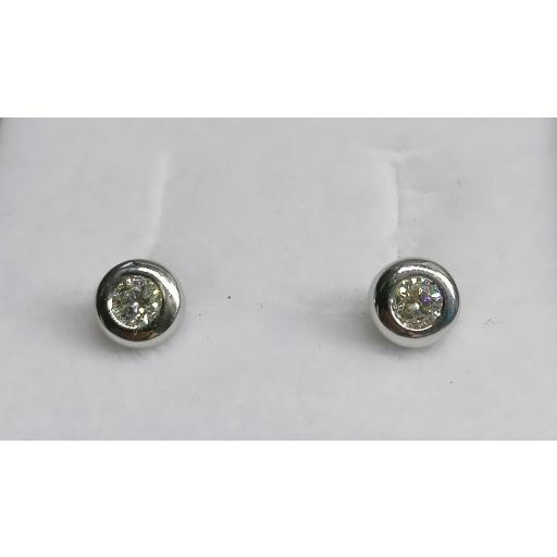 Pendientes Chaton Brillantes 0,24 Ct. En Oro Blanco