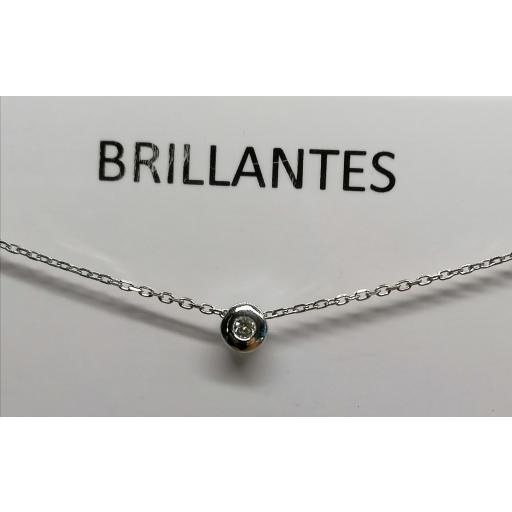 Gargantilla De Oro Blanco Y Diamante 0,04 CTS.