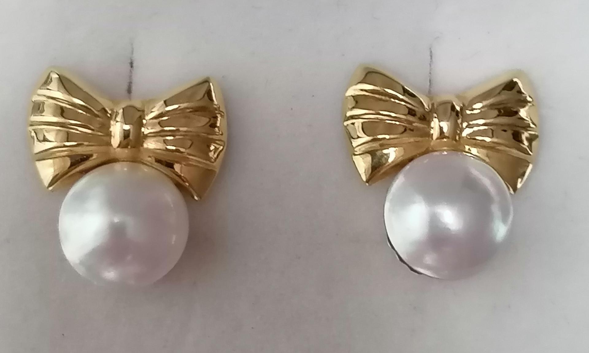 Pendientes Oro Perlas Japonesas Juveniles