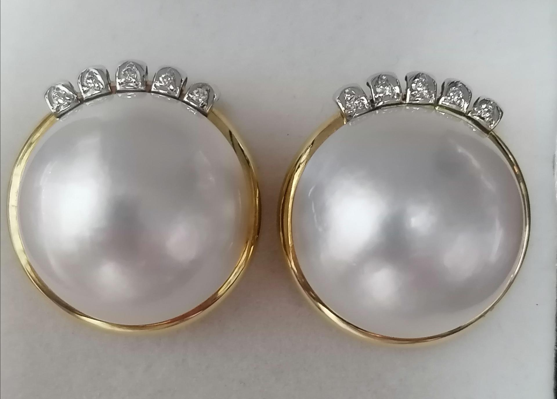 Pendientes De Oro Y Perla Japonesa Con Diamantes