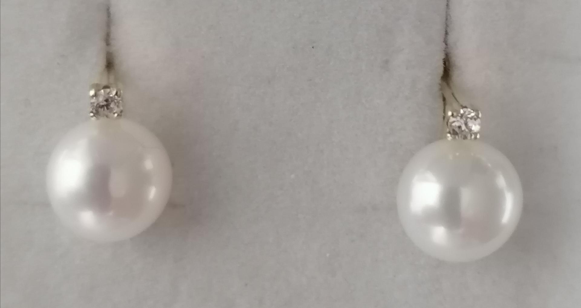 Pendientes Oro Perlas De Boton Y Circonitas Cierre Catalan