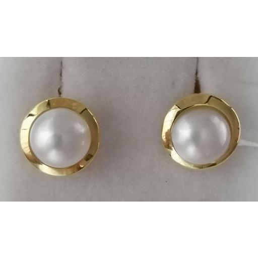 Medias Perlas Japonesas Montadas En Oro Con Bisel [0]