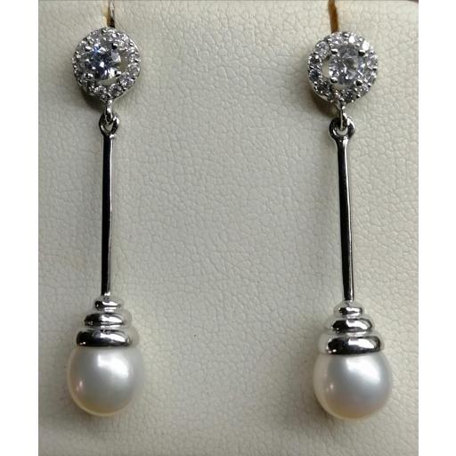 Pendientes Oro blanco Con Perlas Cultivadas Naturales