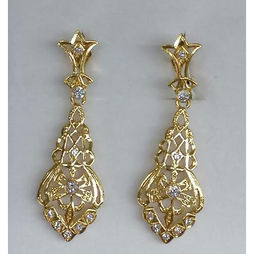 Pendientes largos oro amarillo y circonitas ideal novias, 18 quilates 750/000