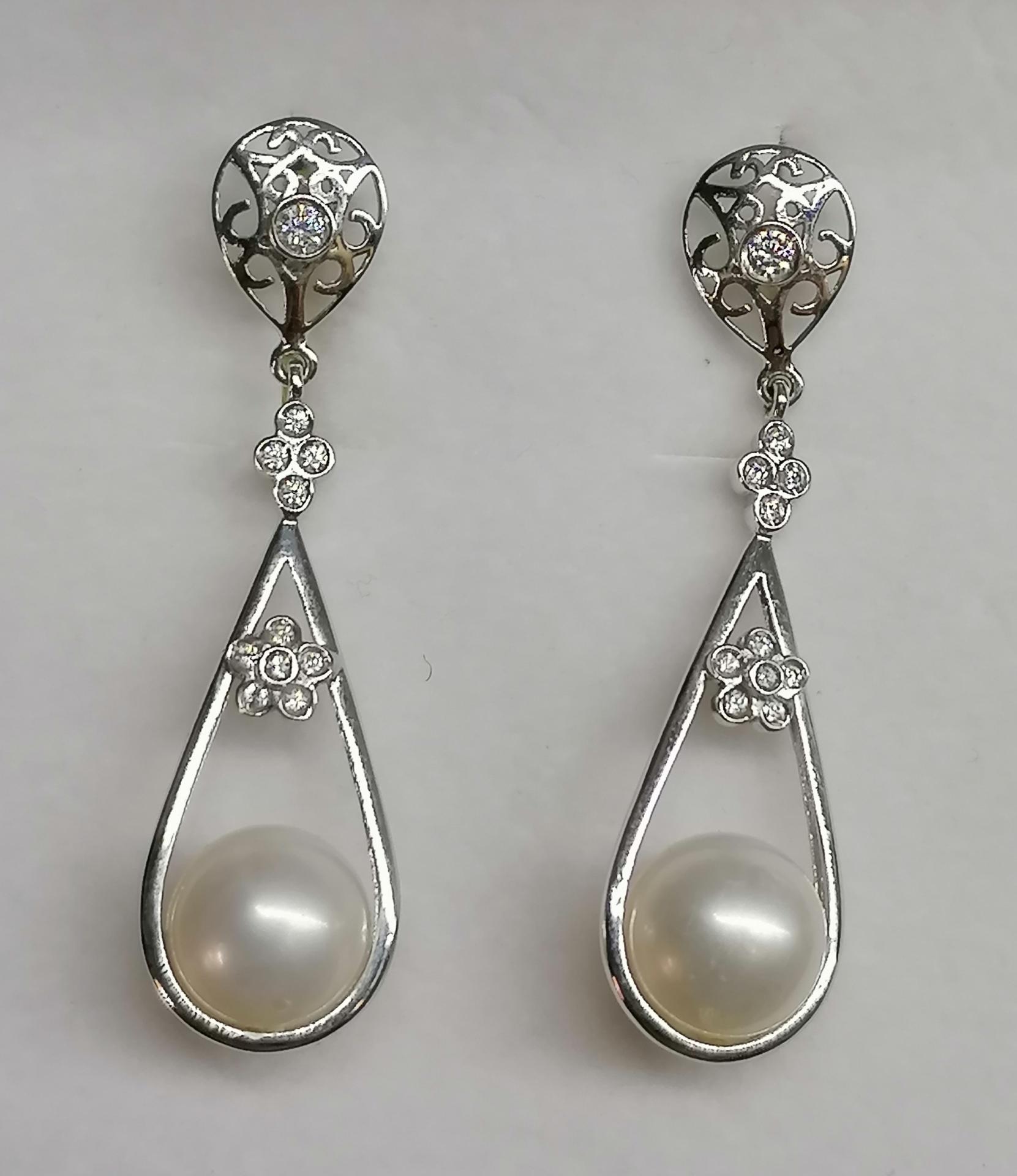 Pendientes Novia en oro blanco y circonitas con perlas cultivadas