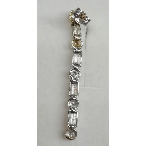 Pendientes Largos Con Diamantes Oro Blanco 18 Kts [2]