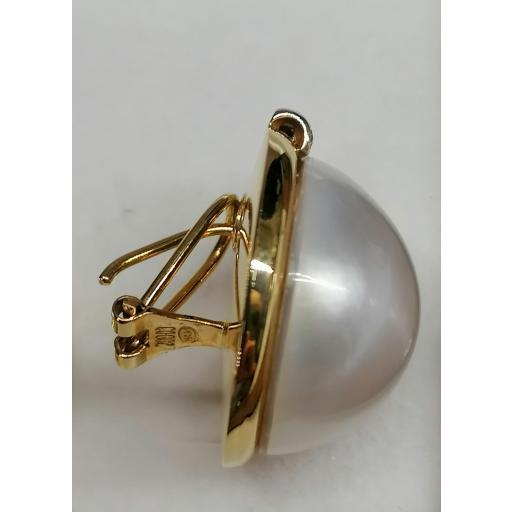 Pendientes De Oro Y Perla Japonesa Con Diamantes [1]