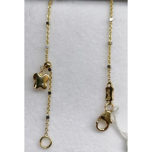 Juvenil Pulsera Oro Tipo Cadena Con Colgantes Mariposas Oro 18 Quilates [2]