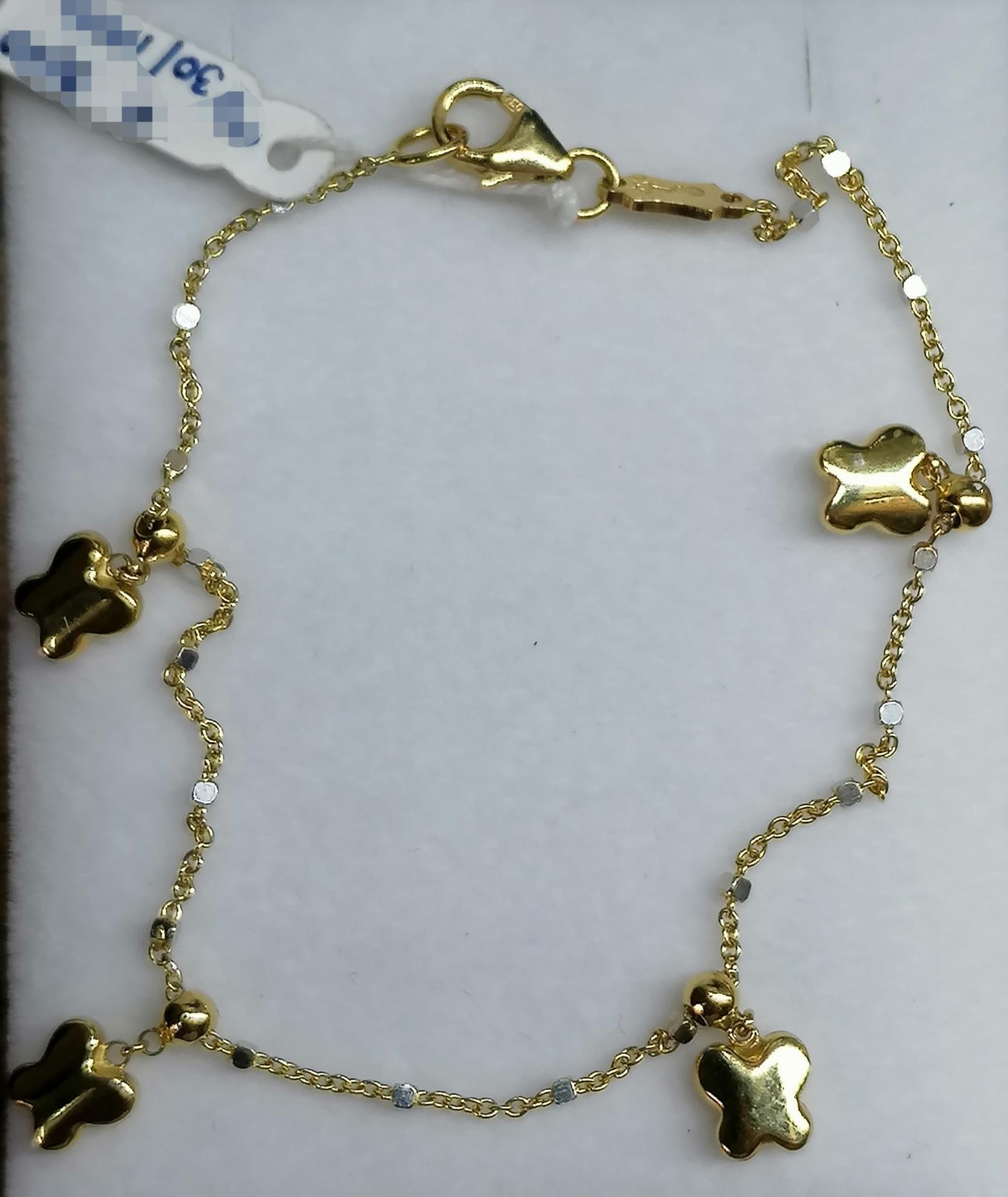 Juvenil Pulsera Oro Tipo Cadena Con Colgantes Mariposas Oro 18 Quilates