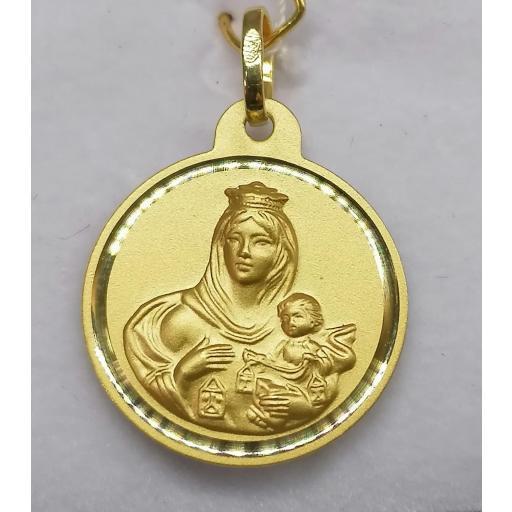 Medalla Escapulario Virgen Del Carmen Oro 20 mm