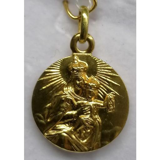 Medalla Escapulario Virgen Del Carmen Oro Sin Filo 17 mm