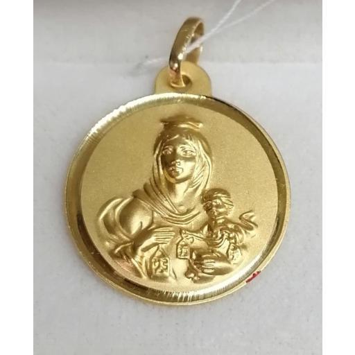 Medalla Oro Virgen Del Carmen Filo Liso 18 Quilates 22 mm