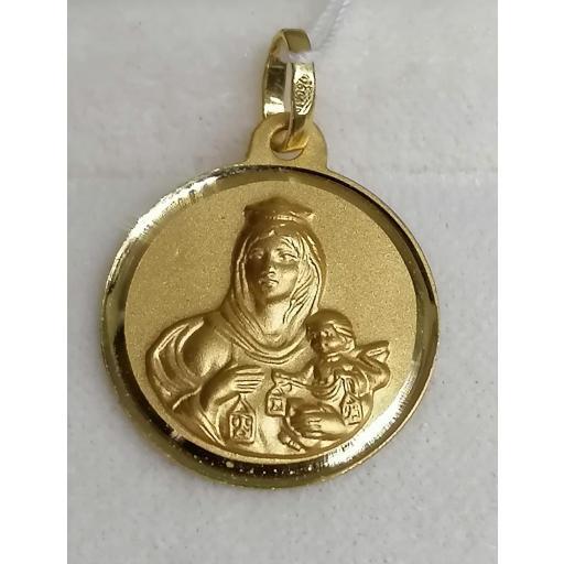 Medalla De Oro Para Mujer De La Virgen Del Carmen En Oro Filo Liso 14 mm