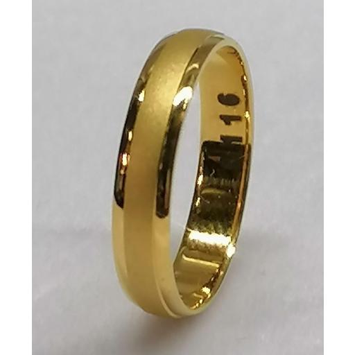 Alianza Oro Amarillo Mate Y Brillo Tipo Media Caña 4,0 mm