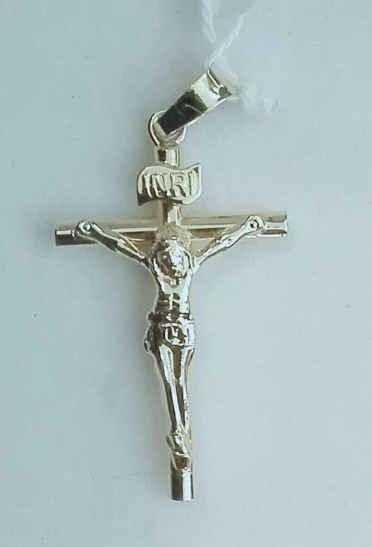 ¡Aquí La Tienes! Cruz de Oro 18 Quilates con Cristo Modelo Redondo