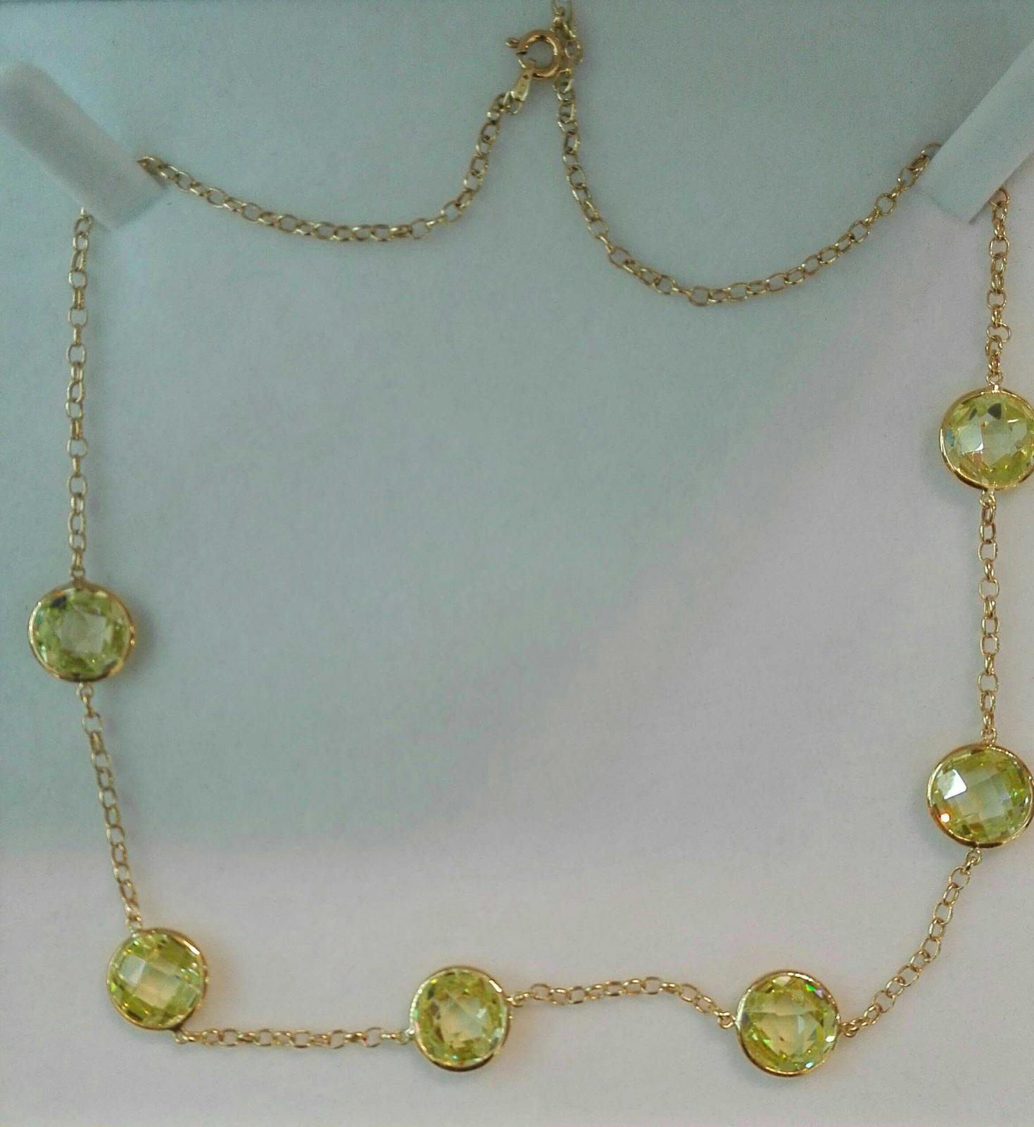 Magnífico Collar Piedras Olivinas En Oro 18 Quilates
