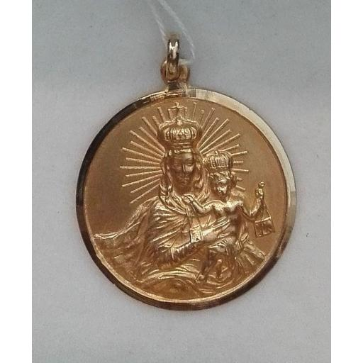 Medalla Virgen Del Carmen Oro Primera Ley Filo Liso