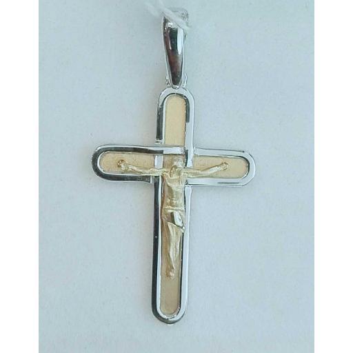¡Novedad! Cruz De Oro Con Cristo Bicolor
