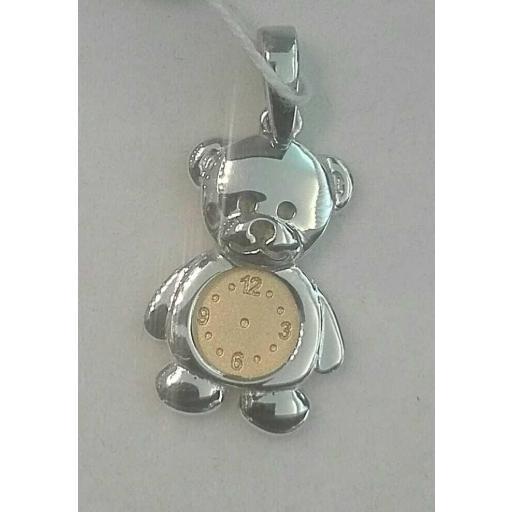 Precioso Colgante Bebe Oro 18 Quilates Osito Con Reloj ¡Corre!