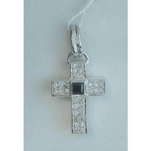 ¡Oferta! Cruz De Oro Blanco 18 Quilates Con Circonitas Y Piedra Azul