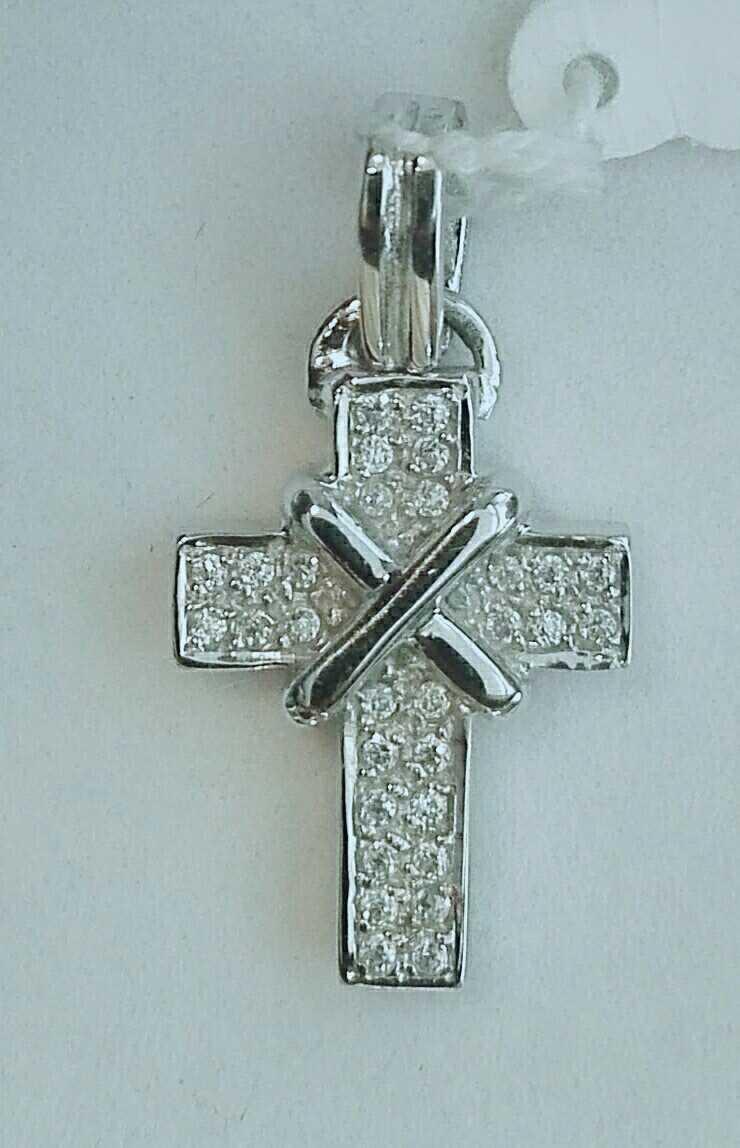 ¡Oferta! Cruz De Oro Blanco Y Circonitas Ideal