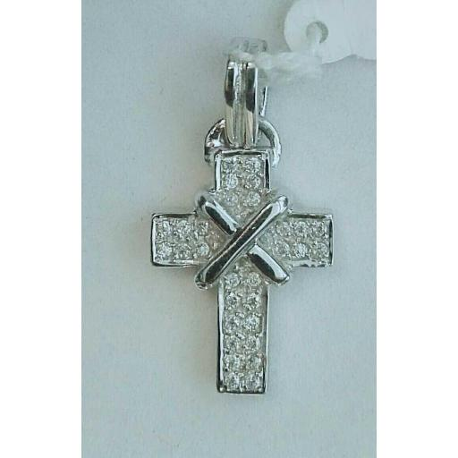 ¡Oferta! Cruz De Oro Blanco Y Circonitas Ideal