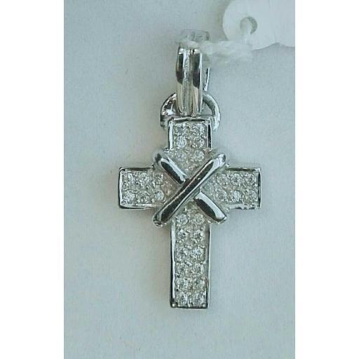 ¡Oferta! Cruz De Oro Blanco Y Circonitas Ideal [0]
