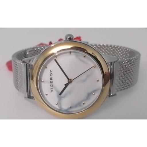 Reloj Viceroy Chic Señora Malla Milanesa Y Esfera Marmol 42408-07