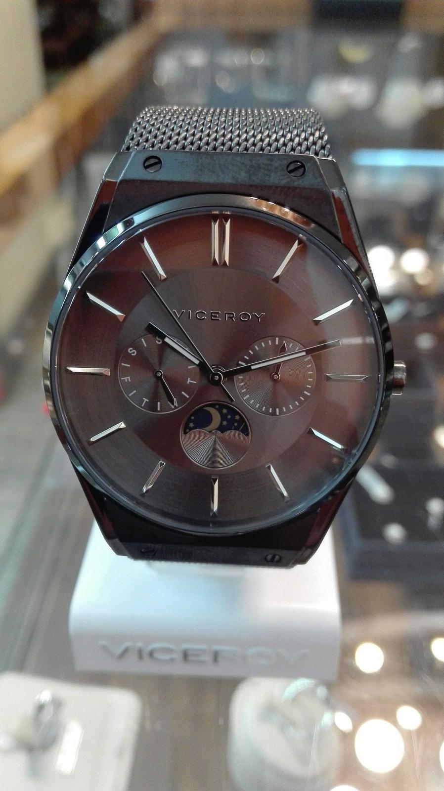 ¡Novedad! Reloj Viceroy Hombre Multifunción Acero Negro 42245-57 Fase Lunar