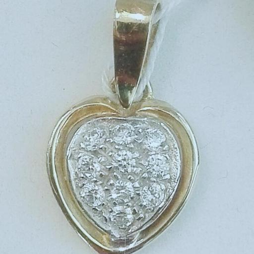Colgante Oro Y Circonitas Forma corazón