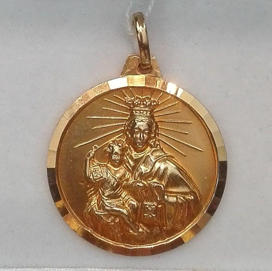 Medalla Oro Virgen Del Carmen Escapulario 18 Quilates