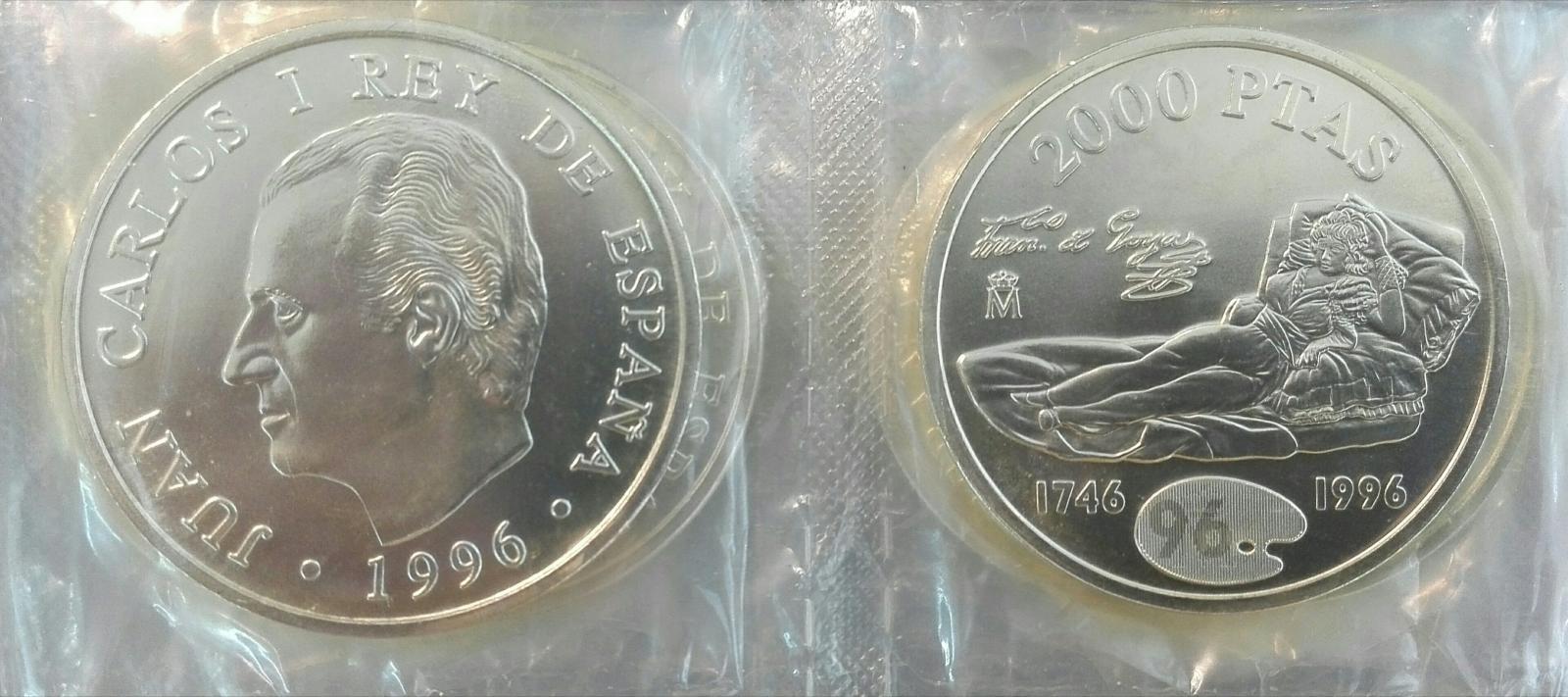 Lote De 10 Monedas Españolas De Plata Juan Carlos I 2000 Pesetas