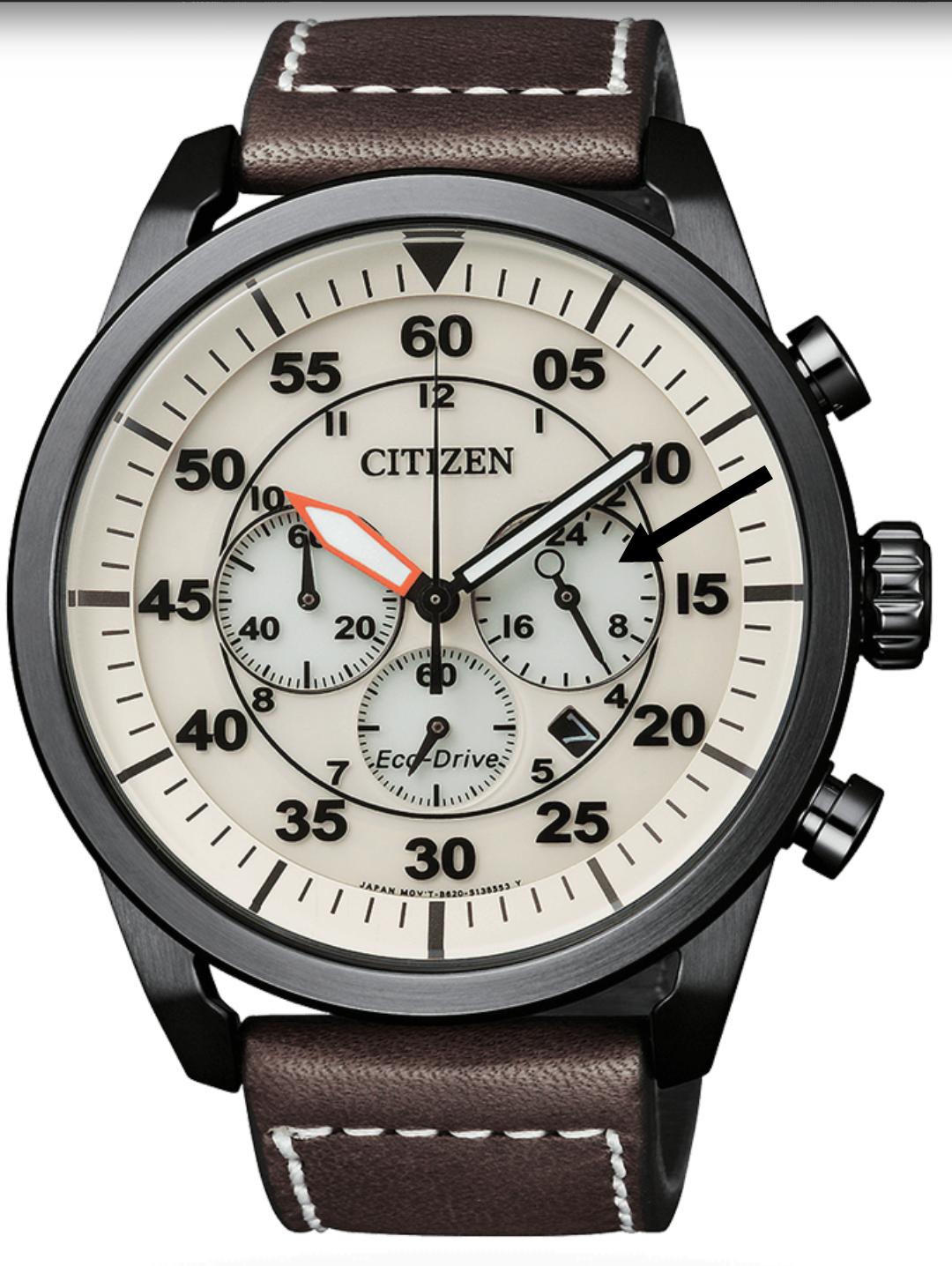 Citizen eco drive aviator marcación 24 horas