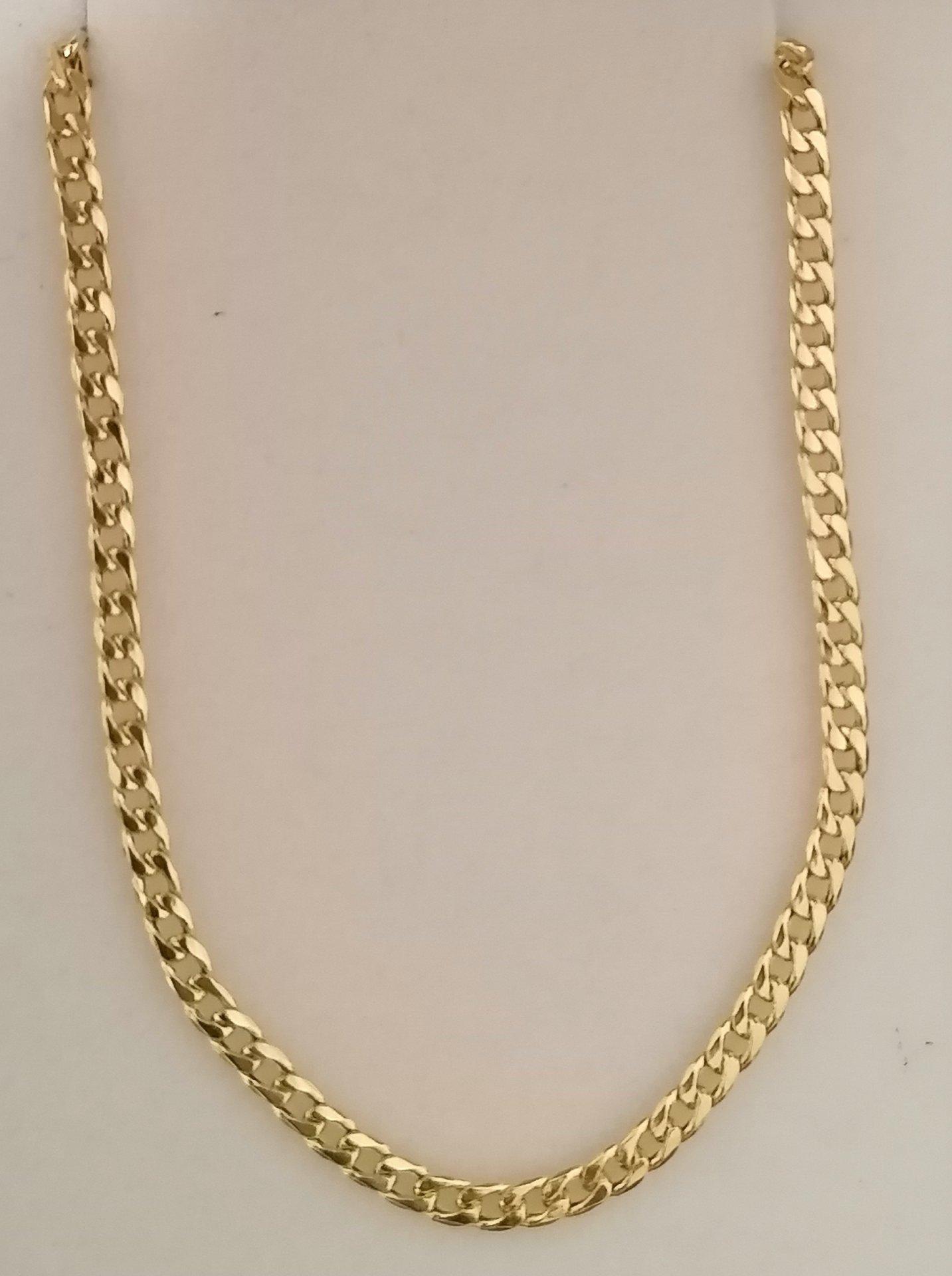 Cadena barbada de oro Unisex en 60 cm