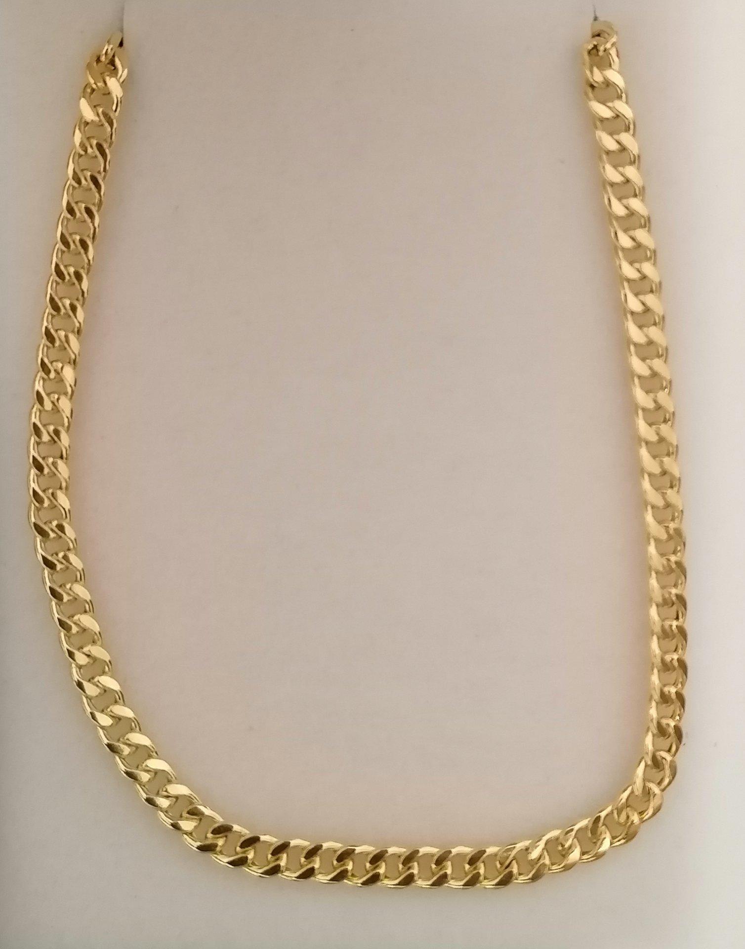 Cadena barbada semi hueca en oro 18 quilates de 60 cm de larga y 3 mm de grosor