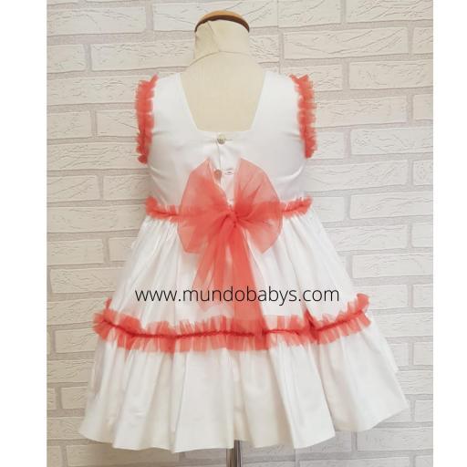 Vestido infantil talle alto blanco y coral [1]