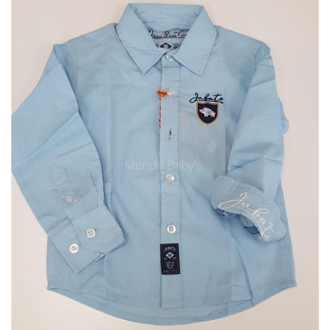 Camisa manga larga celeste con escudo