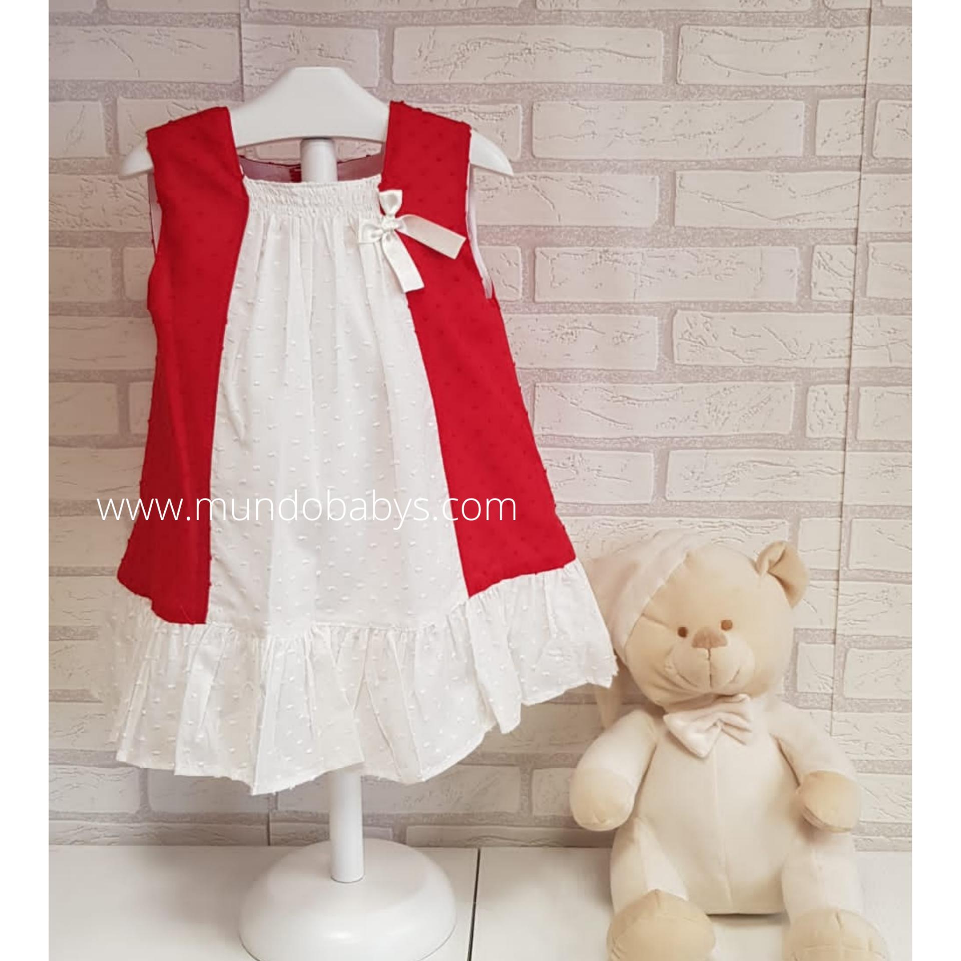 Vestido infantil en rojo y blanco