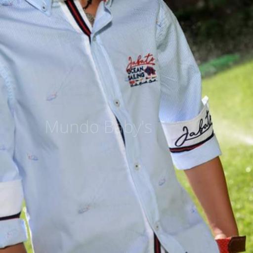 Camisa manga larga rayas finas azul y blanco