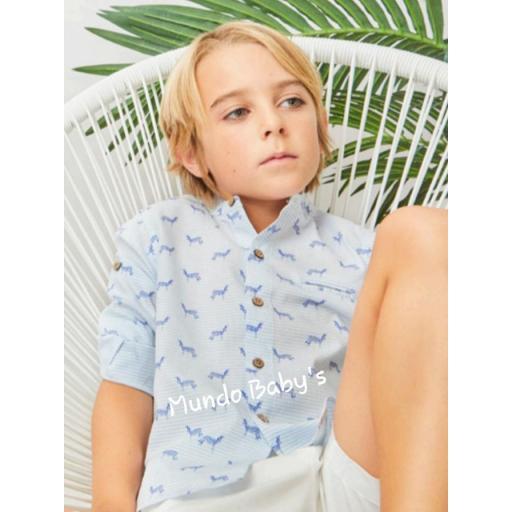 Camisa manga larga estampada en caballito