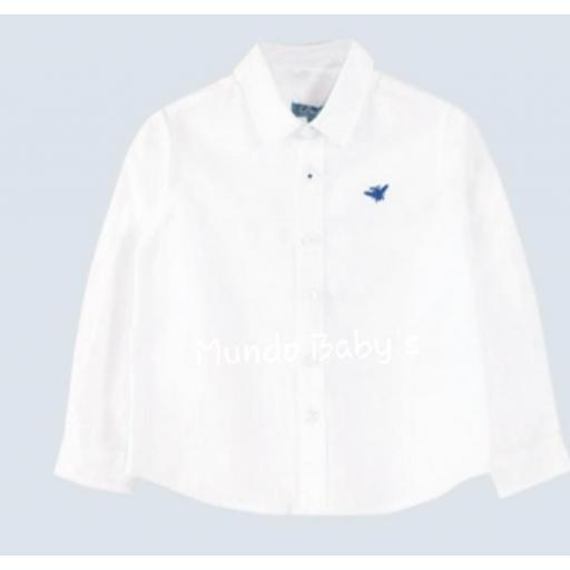 Camisa básica manga larga blanco