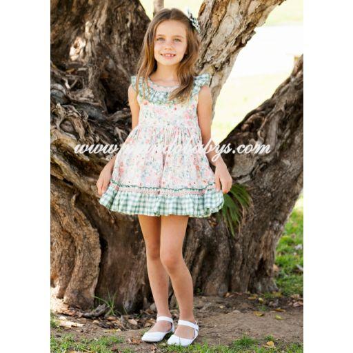 Vestido infantil talle alto flores y cuadros vichy