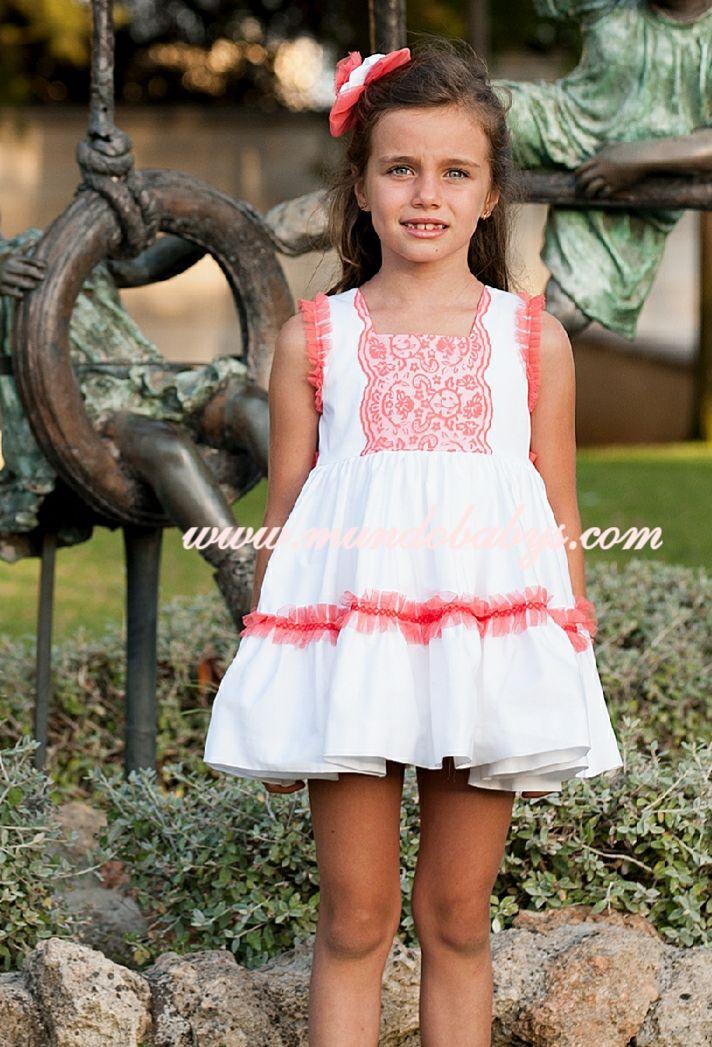 Vestido infantil talle alto blanco y coral