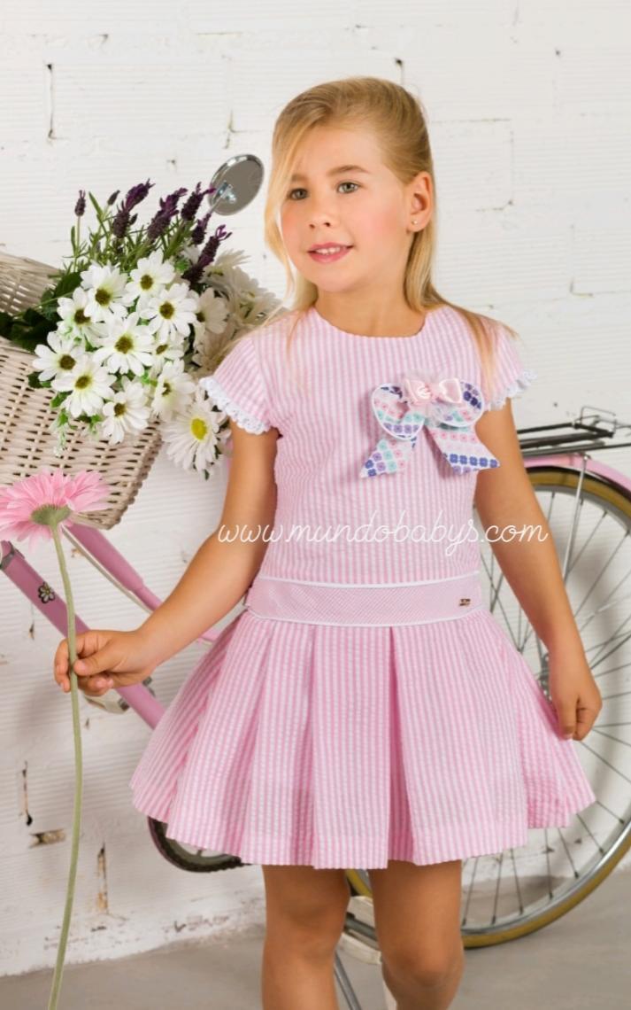 Vestido rayas rosa y blanco